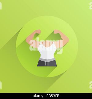 Digitally generated body with flexing biceps - Stock Image