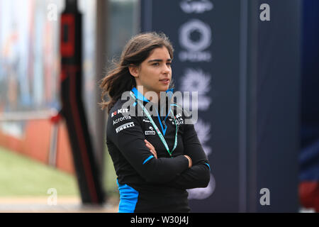 Silverstone, Northampton, UK. 11th July 2019. F1 Grand Prix of Great Britain, Driver arrivals day; Jamie Chadwick, ROKiT Williams Racing Development Driver Credit: Action Plus Sports Images/Alamy Live News - Stock Image