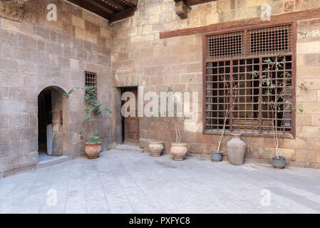Facade of Zeinab Khatoun historic house, located near to Al-Azhar Mosque in Darb Al-Ahmar district, Old Cairo, Egypt - Stock Image