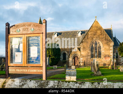 Athelstaneford, East Lothian, Scotland, United Kingdom, 29th November 2018. Birthplace of St Andrew's Cross, the saltire flag. On the eve of St Andrew's Day at Athelstaneford Parish church yard at the National Flag Heritage Centre. Legend says that on the eve of a battle between Picts and Angles from Northumbria in 832AD Saint Andrew had a vision of victory and when the Picts saw a white cross formed by clouds in a blue sky they attributed their victory to his blessing, adopting the cross as a flag - Stock Image