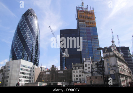 Cheesegrater Building under construction by the Gherkin London June 2013 - Stock Image