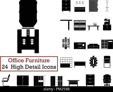 Set of 24  Office Furniture Icons. Monochrome color design. Vector illustration. - Stock Image
