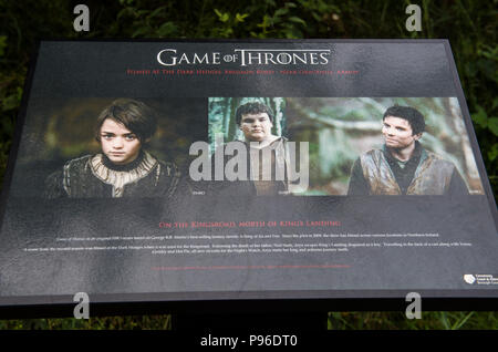 Information board about the Game of Thrones television series filming location at the Dark Hedges in County Antrim, Northern Ireland - Stock Image