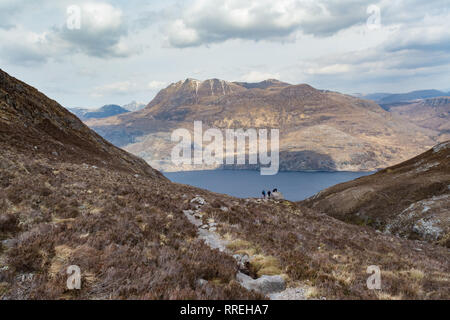 Siloch mountain from Beinn Eighe Mountain Trail, a mountain massif in the Torridon area of Wester Ross, North West Highlands, Scotland, UK - Stock Image