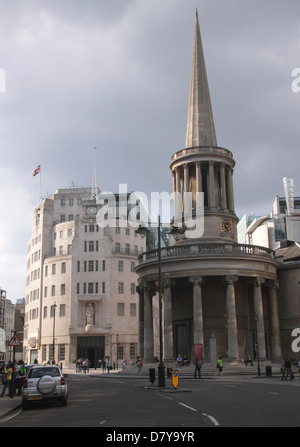 All Souls Church and BBC Broadcasting House London - Stock Image
