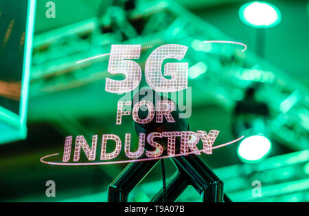 31.03.2019, Hannover, Lower Saxony, Germany - 5G for Industry Projection at the Hannover Fair. 00X190331D026CAROEX.JPG [MODEL RELEASE: NO, PROPERTY RE - Stock Image