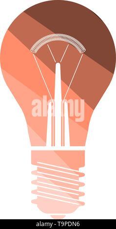 Electric Bulb Icon. Flat Color Ladder Design. Vector Illustration. - Stock Image