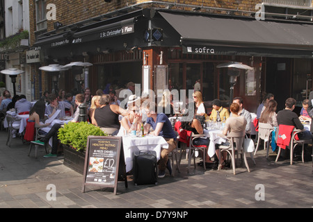 Dinning at Sofra Turkish restaurant St Christopher's Place London - Stock Image
