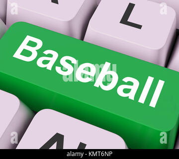Key On Keyboard Meaning Game Played with Bat Ball - Stock Image