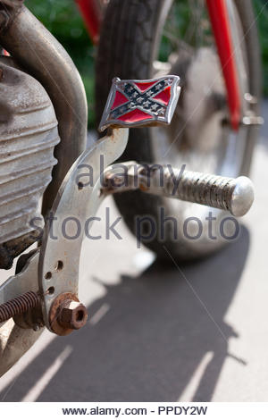 1942 Harley Davidson; with a Confederate Flag Pedal - Model  WLA 750 - Outside in Sunshine - portrait, vertical view - Stock Image