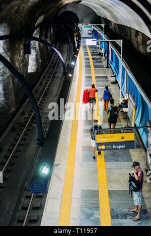 Rio de Janeiro, Brazil - March 21st, 2019: Travelers wait for metro at Arcoverde station in Copacabana, Rio de Janeiro, Brazil - Stock Image