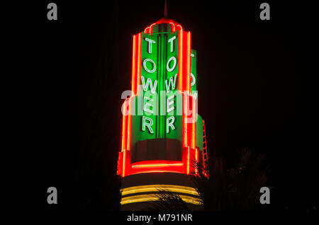 The Tower sign in Sacramento is a famous landmark. - Stock Image