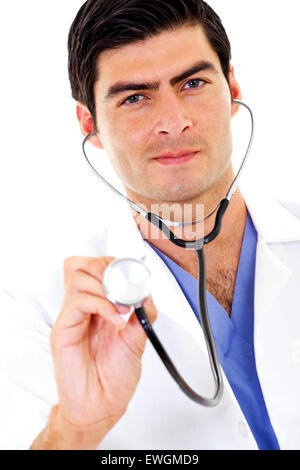 Stock image of male doctor holding stethoscope - Stock Image