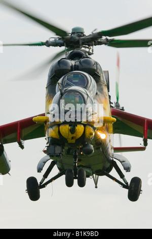 Hungarian Mi-24 landing, Airshow Maribor 2008, Slovenia June 15, 2008 - Stock Image
