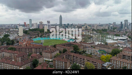 Aerial view of the skyline of London from the South - Stock Image