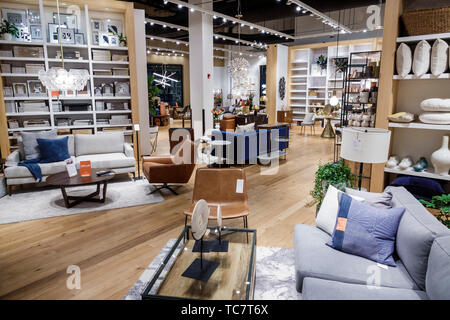 Miami Florida The Shops at Midtown Miami West Elm inside furniture household items furnishings display sale sofas chairs shopping - Stock Image