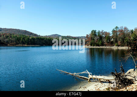 Lake Glenville, a recreational lake and reservoir near Cashiers, North Carolina on an autumn afternoon. - Stock Image