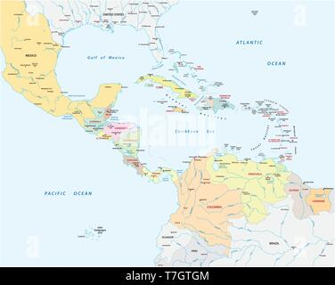 Association of Caribbean States map - Stock Image