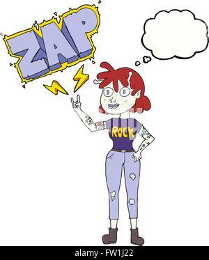 freehand drawn thought bubble cartoon alien rock fan girl - Stock Image