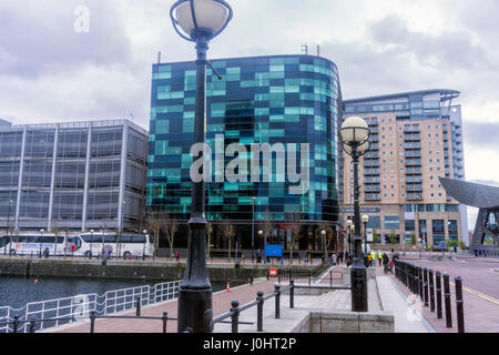 Lamp Posts, Media City, Manchester, Architecture - Stock Image