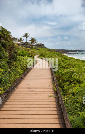 Boardwalk on Kapalua Coastal Trail, Maui - Stock Image