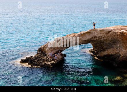 The Love Bridge sea-arch, Ayia Napa, Cyprus October 2018 - Stock Image