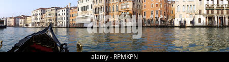 Panorama of the « Gran Canal' . View from a gondola on Venice grand canal - Stock Image