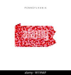 I Love Pennsylvania. Red Hearts Pattern Vector Map of Pennsylvania - Stock Image