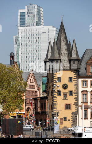 Skyline of Frankfurt am Main, skyscrapers, building contrasts, Jumeirah Hotel, gable faade on the Ršmer, slate tower of the Saalhof, Renten-Zoll-Towe - Stock Image
