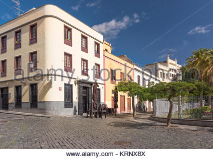 Cobbled streets in the old part of Santa Cruz de Tenerife, capital city of Tenerife, Canary Islands, Spain, with - Stock Image