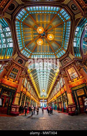 Fisheye view of interior of Leadenhall Market, The City, London, England, United Kingdom, Europe - Stock Image
