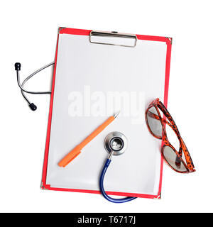 Stethoscope, pen and glasses on red clipboard cut out over white. Health care concept - Stock Image