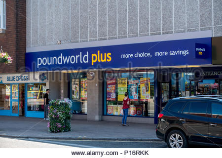 Fleet, Hampshire UK. 11th June 2018. Only opened in Fleet following the closure of Poundland, Poundworld is itself in administration after talks to restructure the company failed. Credit: Images by Russell/Alamy Live News - Stock Image