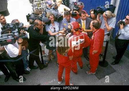 1997 Michael Schumacher German Ferrari 310B Interview - Stock Image