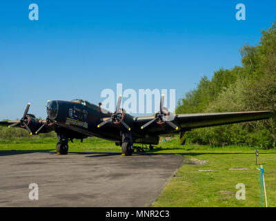 Handley Page Halifax heavy bomber in allied service during World War two on display at the Yorkshire Air Museum Elvington York UK - Stock Image