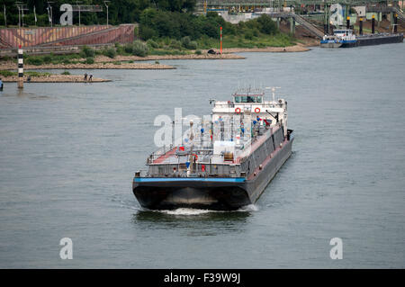 Oil tanker river Rhine Leverkusen Germany - Stock Image