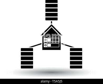 Datacenter Icon. Black on White Background With Shadow. Vector Illustration. - Stock Image