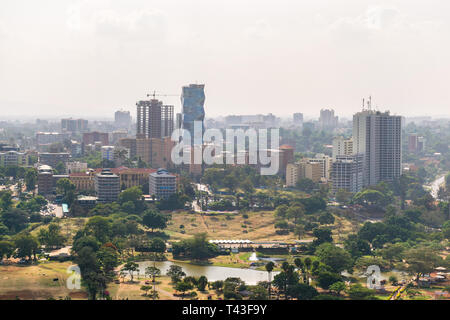 Nairobi skyline during the day from Kenyatta International Convention Centre KICC, Kenya - Stock Image