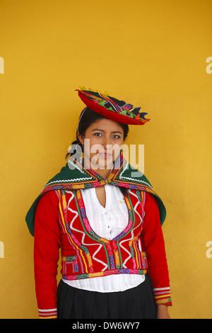 Peruvian woman wearing traditional dress, Lima, Peru - Stock Image
