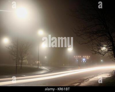 Ashbourne Derbyshire, Peak District National Park. 18th December, 2017.  UK Weather: Dense winter fog making dangerous - Stock Image