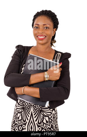 Portrait of smiling businesswoman with black backrest on her chest, isolated on white background - Stock Image
