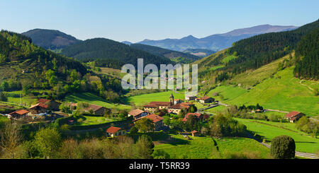 Panorama of Arrazola village in Basque Country - Stock Image