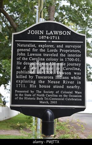 A historic marker for John Lawson the naturalist, explorer, and surveyor. - Stock Image