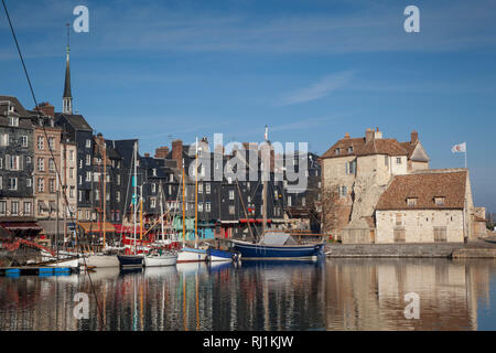 The old harbour and Lieutenance in Honfleur, France. - Stock Image