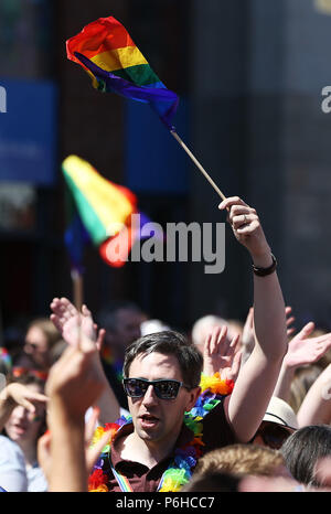 Minister for Health Simon Harris takes part in the Pride Parade in Dublin. Picture date: Saturday June 30, 2018. See PA story IRISH Pride. Photo credit should read: Brian Lawless/PA Wire - Stock Image
