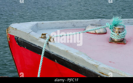 Somewhat abstract detail of the front of a fishing boat docked at French River, PEI - Stock Image