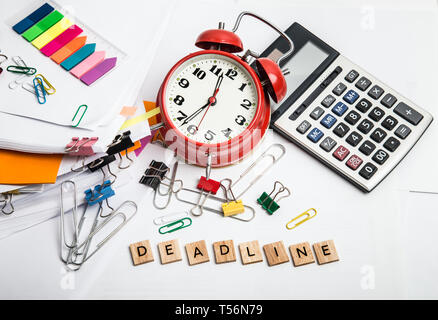 Time management concept. Composition with documents, stationary and alarm clock on table - Stock Image