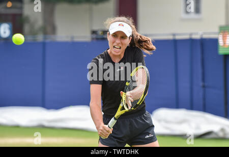 Eastbourne UK 23rd June 2019 - Johanna Konta of Great Britain practices on an outside court at the Nature Valley International tennis tournament held at Devonshire Park in Eastbourne . Credit : Simon Dack / TPI / Alamy Live News - Stock Image