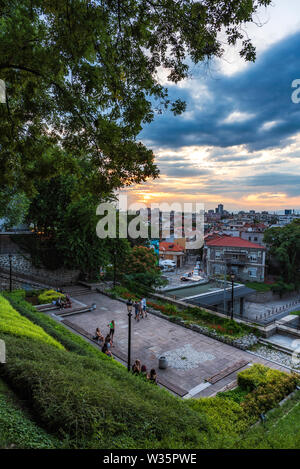 Summer sunset over Plovdiv - european capital of culture 2019 and oldest living city in Europe, Bulgaria - Stock Image