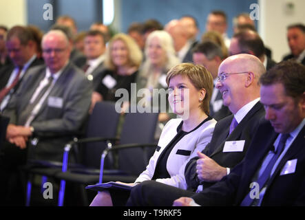 First Minister Nicola Sturgeon ahead of her speech to business leaders about the benefits of the Aberdeen Western Peripheral Route/Balmedie-Tipperty at the Aberdeen International Business Park. - Stock Image